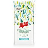50 lingettes antibactériennes Ajax multi-surfaces, soit 25 lingettes extra-larges