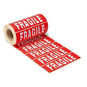 """500 étiquettes d'expédition """"Fragiles"""", lot de 2 rouleaux"""