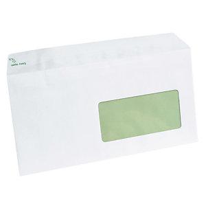 500 extra witte DL enveloppen Erapure met beschermstrip 110 x 220 mm met venster 45 x 100 mm 100% gerecycleerd papier 80 g