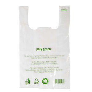 500 sacs plastiques à bretelles épaisseur 50 microns, 26 x 12 x 45 cm, Transparent