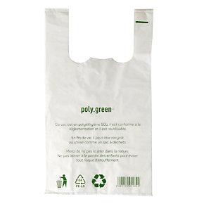 500 sacs plastiques à bretelles épaisseur 50 microns, 30 x 14 x 54 cm, Blanc