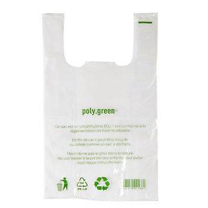500 sacs plastiques à bretelles épaisseur 50 microns, 30 x 14 x 54 cm, Transparent