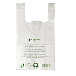 500 sacs plastiques à bretelles épaisseur 50 microns, 30 x 16 x 65 cm, Blanc
