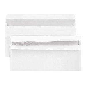 500 voordelige witte DL enveloppen met zelfklevende sluiting 110 x 220 mm zonder venster velijn 80 g