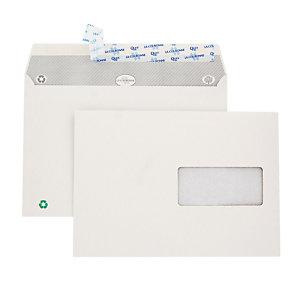 500 witte C5 enveloppen La Couronne met beschermstrip 162 x 229 mm met venster 45 x 100 mm 100% gerecycleerd papier 80 g