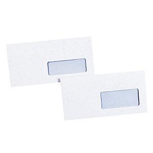 500 witte DL enveloppen La Couronne met beschermstrip 110 x 220 mm met venster 45 x 100 mm velijn 80 g