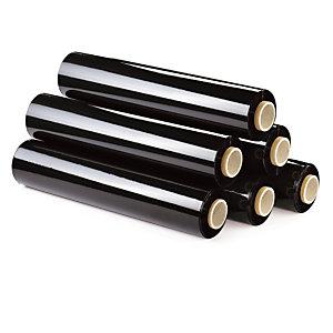 6 bobines film étirable opaque noir 20 microns 300m x 450mm