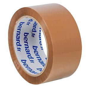 6 rubans adhésifs d'emballage PP Bernard, 48 mm x 66 m, havane