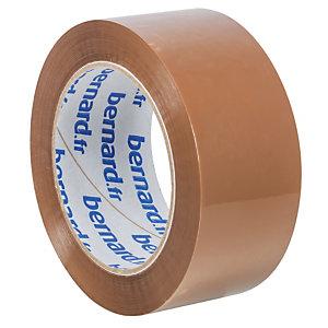 6 rubans adhésifs d'emballage PP silencieux Bernard, 48 mm x 100 m, havane