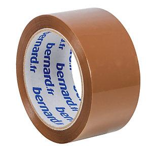 6 rubans adhésifs d'emballage PP silencieux Bernard, 48 mm x 66 m, havane
