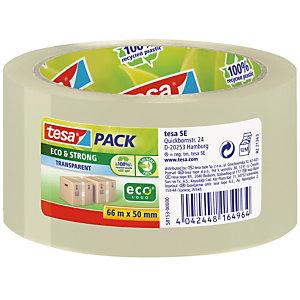 6 rubans adhésifs d'emballage écologiques Tesa en polypropylène transparent, épaisseur 56 microns, 50 mm x 66 m
