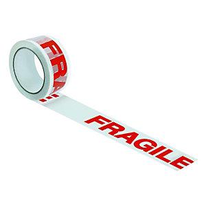 6 rubans adhésifs de signalisation des colis « Fragile », 50 mm x 100 m