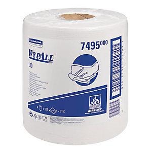 6 witte rollen handdoekpapier met centrale afrolling Wypall L10, 525 vellen