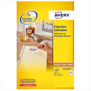 675 herplaatsbare witte etiketten LR4737REV Avery, per doos
