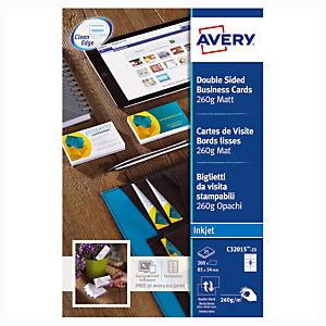 80 visitekaartjes kleur wit C32015 Quick & Clean Avery, per doos