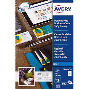 80 visitekaartjes kleur wit C32028 Quick & Clean Avery, per doos
