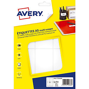 96 étiquettes blanches multifonctions Avery 97 x 46 mm