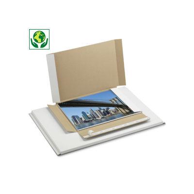 Etui Flatpack format A3##A3 Flatpack postdoos met sluitklep of zelfklevende sluiting, wit microgolfkarton