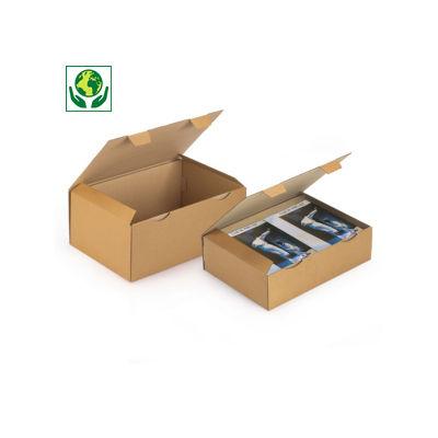 A3 postdoos Rajapost, met beschermende zijflappen en sluitklep, bruin/wit microgolfkarton
