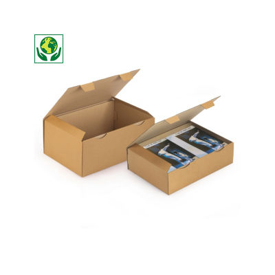Boîte postale en carton Rajapost blanche ou brune pour documents format A3##A3 postdoos Rajapost, met beschermende zijflappen en sluitklep, bruin/wit microgolfkarton