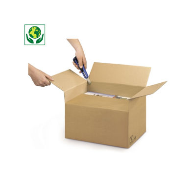 A4 Kartonnen dozen met variabele vulhoogte Variabox, bruin dubbelgolfkarton