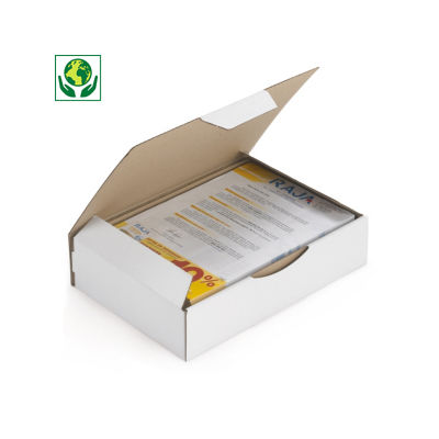 A4 postdoos Rajapost, met beschermende zijflappen en sluitklep, bruin/wit microgolfkarton
