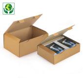 A5 postdoos Rajapost, met beschermende zijflappen en sluitklep, bruin/wit microgolfkarton