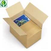 A6 kartonnen dozen met variabele vulhoogte Variabox, bruin enkelgolfkarton