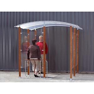 Abri fumeurs mural bois exotique 2 m²