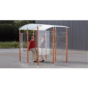 Abri fumeurs mural bois exotique 6 m²