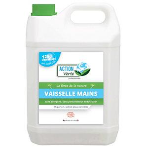 ACTION VERTE Liquide vaisselle mains écologique, sans parfum, Bidon de 5L