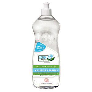 ACTION VERTE Liquide vaisselle mains écologique, sans parfum, Flacon de 1L