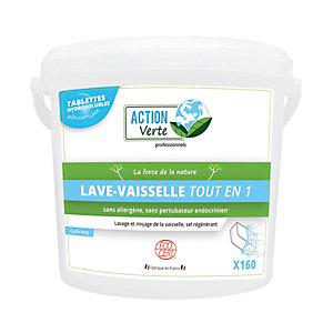 ACTION VERTE Tablettes de lavage écologiques lave-vaisselle tout-en-un, cycle long, seau de 160 tablettes
