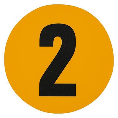 Adesivos com numeração para sinalização do chão