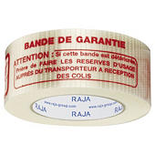 "Adhésif armé chaîne et trame ""BANDE DE GARANTIE"" 140 microns RAJATAPE"