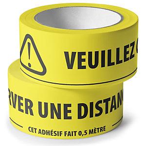 Adhésif de marquage au sol avec message distance de sécurité à respecter