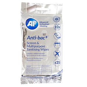 AF CLEANING Lingettes de nettoyage pour écrans et multi-surfaces antibactériennes  - Paquet de 25