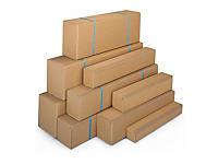 Aflang brun kasse med stor åbning - Enkelt bølgepap