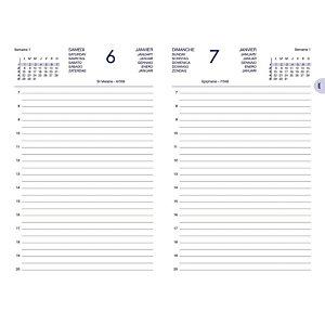 Agenda journalier CARRE TRAVERS - couverture noire- 14 x 22 cm - 2021