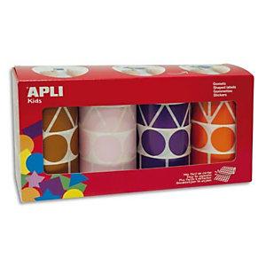 AGIPA APLI Lot de 4 rouleaux de gommettes motifs et couleur assortis : carré, triangle, rectangle, rond