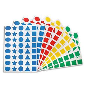 AGIPA APLI Paquet 32 feuilles de gommettes carré rond triangle étoile ovale prédécoupées bleu rouge vert jaune