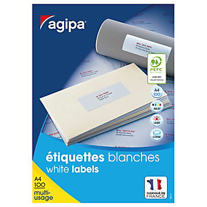 AGIPA Étiquettes adhésives blanches multi-usages, 105 X 37 mm - 1600 étiquettes par boîte, 16 étiquettes par feuille