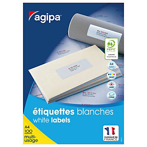 AGIPA Étiquettes adhésives blanches multi-usages, 105 X 39 mm -  1400 étiquettes par boîte,  14 étiquettes par feuille