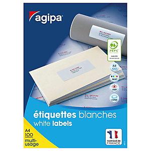 AGIPA Étiquettes adhésives blanches multi-usages, 105 X 57 mm - 1000 étiquettes par boîte, 10 étiquettes par feuille