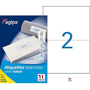 AGIPA Étiquettes adhésives blanches multi-usages, 210 X 148.5 mm - 200 étiquettes par boîte, 2 étiquettes par feuille