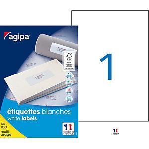 AGIPA Étiquettes adhésives blanches multi-usages, 210 X 297 mm - 100 étiquettes par boîte, 1 étiquette par feuille