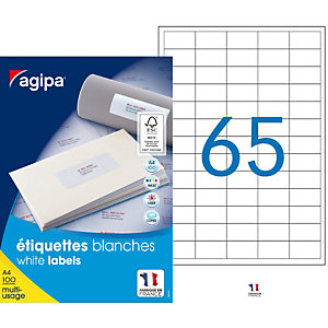 AGIPA Étiquettes adhésives blanches multi-usages, 38  x 21,2 mm -  6500 étiquettes par boîte, 65 étiquettes par feuille