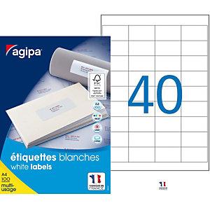 AGIPA Étiquettes adhésives blanches multi-usages, 48,5  x 25,4 mm -  4000 étiquettes par boîte, 40 étiquettes par feuille