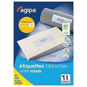 AGIPA Étiquettes adhésives blanches multi-usages, 63,5  x 33,9 mm -  2400 étiquettes par boîte, 24 étiquettes par feuille