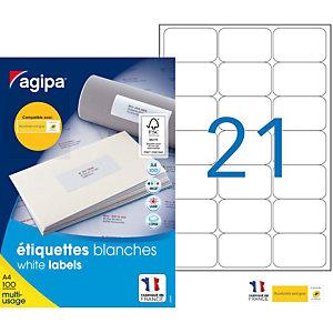 AGIPA Étiquettes adhésives blanches multi-usages, 63.5 X 38.1 mm - 2100 étiquettes par boîte, 21 étiquettes par feuille